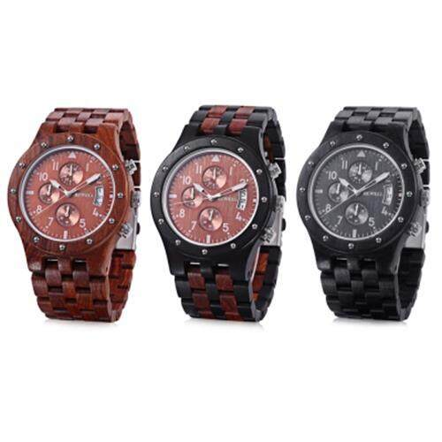 BEWELL ZS - W109D MALE WOODEN QUARTZ WATCH JAPAN MOVT WORKING SUB-DIAL DATE DISPLAY WRISTWATCH (EBONY)