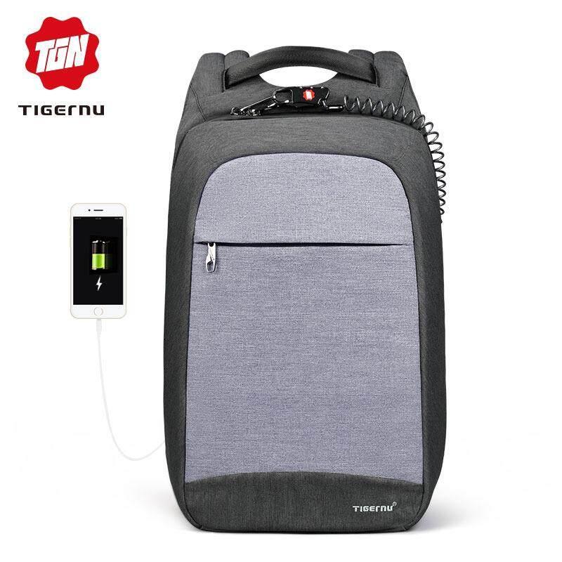 2018 Tigernu Desain Baru Anti-pencurian Anti-Air Laptop Ransel Fanshion Pria Tas USB Pengisian Port Bisnis Ransel untuk Wanita -Internasional