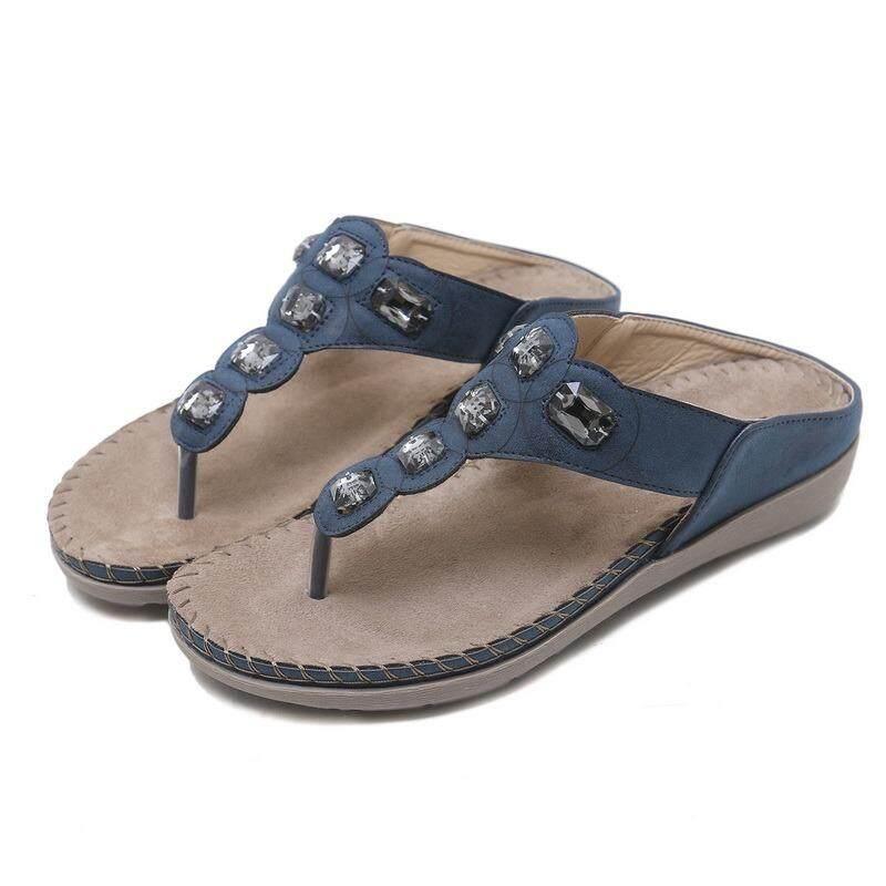 12ced33b8d4eb New Type Women s European 3.5CM Heel Platform Rhinestone Decoration Slip On  Sewing Toe Clip Sandals