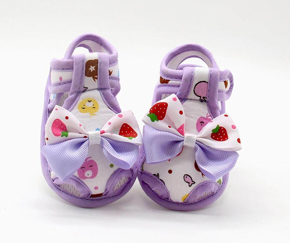 Bayi Yang Baru Lahir Bayi Perempuan Musim Panas Busur Lembut Tunggal Balita Anti Selip Sepatu Sandal-Internasional