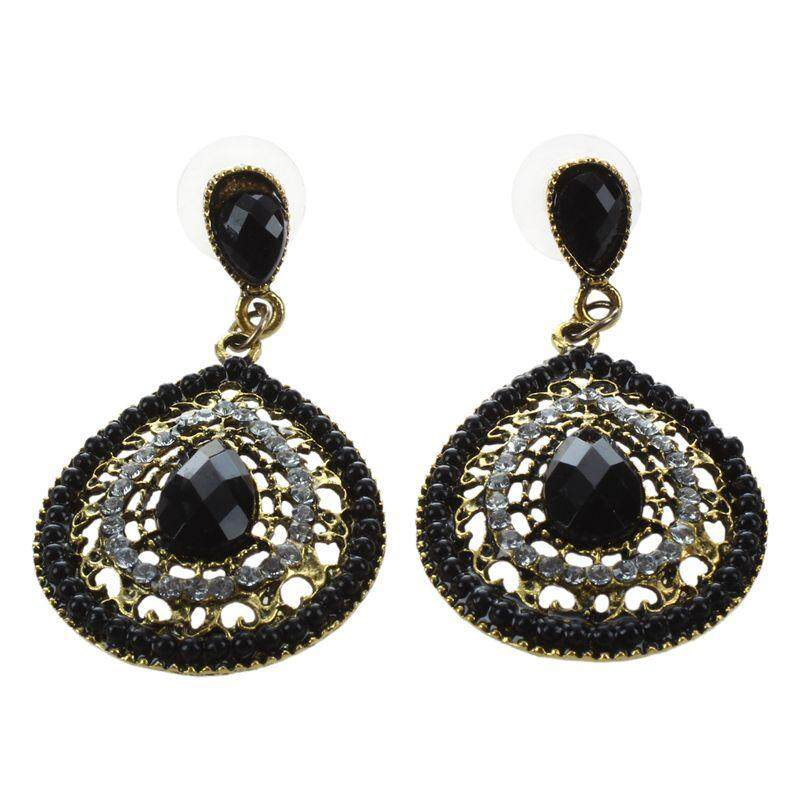 Fashion Women Girls Retro Bohemia Full Rhinestone Drop Earrings Beads Black