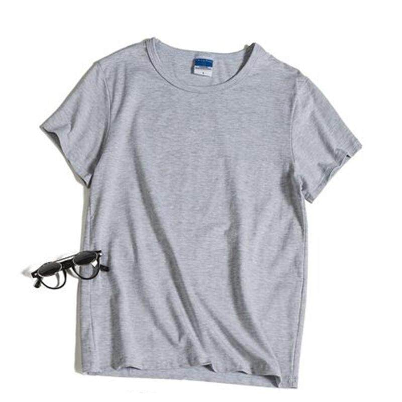 08a060ee529b Summer Men s Casual Loose Solid Color Plus Size Short Sleeve T-shirt (Light  Grey