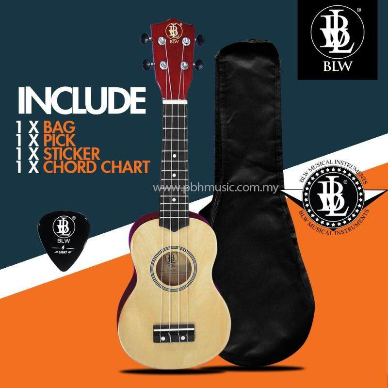BLW 21 Inch 4 Nylon Strings Soprano Ukulele Hawaii Guitar FREE Bag, Chord Chart, Pick & Sticker (Beige) Malaysia