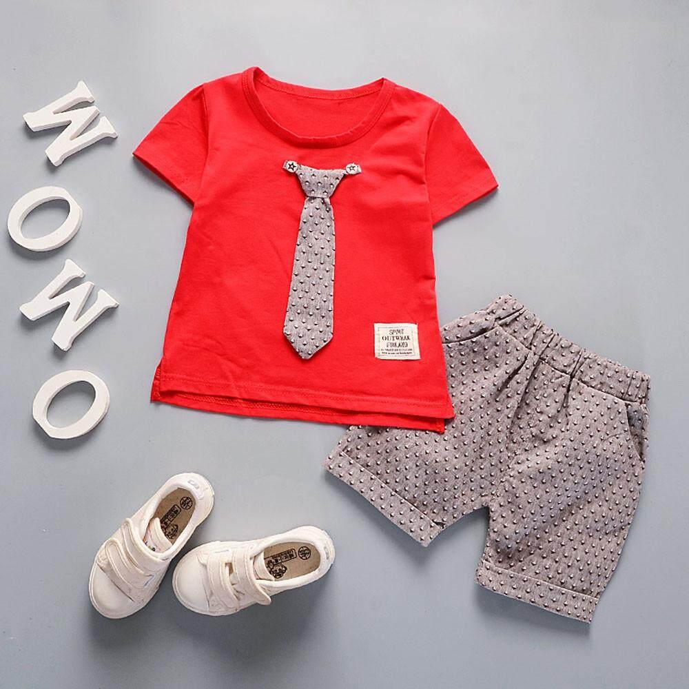 da9ae6acb Toddler Kids Baby Boys Outfits Short Sleeve T-shirt+Pants Gentleman Clothes  Set -