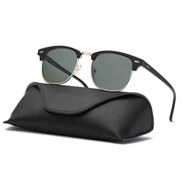 dd6a40d0d1 Ray Parker Classic Clubmaster Horn Rimmed Semi Rimless with Polarized  Lenses for Men Sunglasses RP6623 with