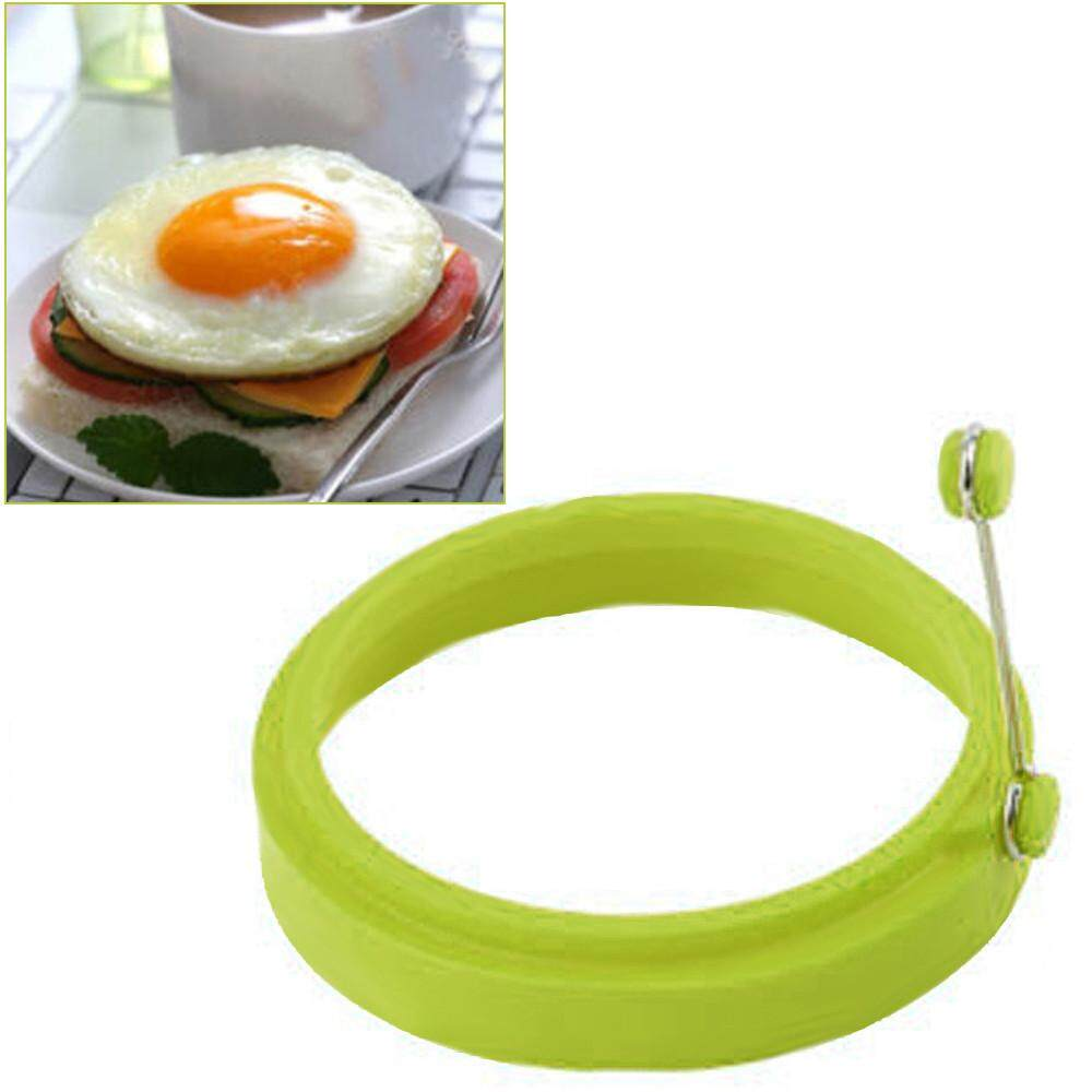 Silicone Round Egg Rings Pancake Mold Ring W Handles Nonstick Fried Frying - intl