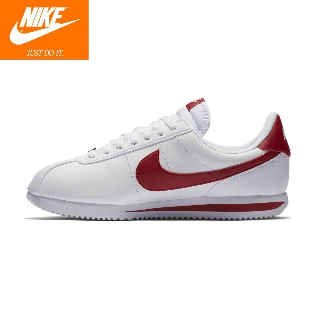 95ab5861 Nike Mens Cortez Basic Leather 819719-101 White Gym Red 100% Original