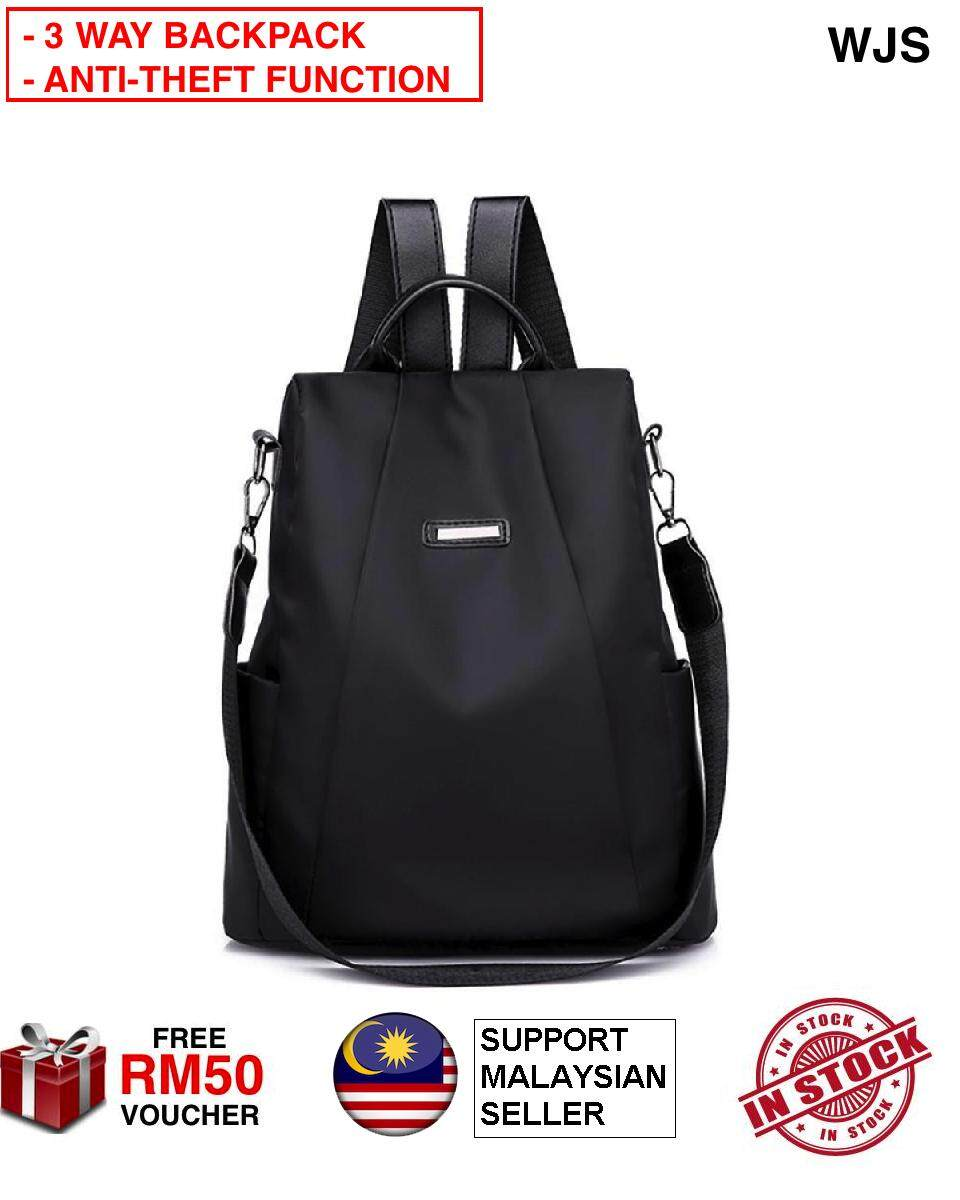 (ANTI-THEFT 3 WAY BACKPACK) WJS 3 Way Fashion Backpack Shoulder Bag Korea Style Anti-theft Backpack College School Bag For Students Teenagers Ladies Girls Back Pack Laptop Computer Waterproof Oxford Daypack Security Bag BLACK BEIGE (FREE RM50 VOUCHER)