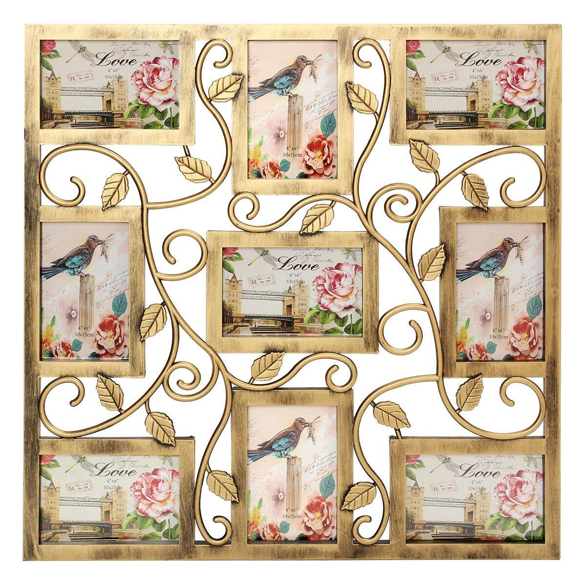Wall Hanging Bronze Floral Vine Collage Photo Frames Picture Display Decor Gift#=