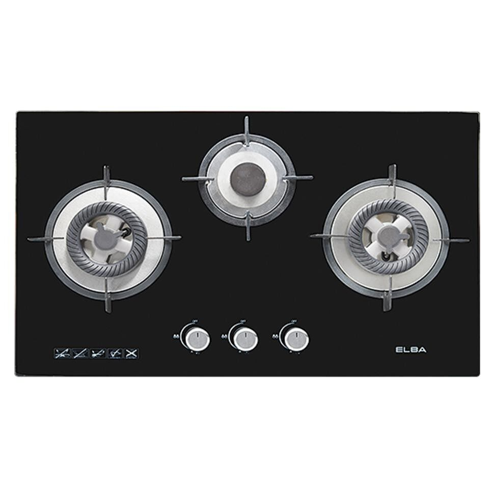 Elba 3 Burners Built In Gl Hob Egh G8523g Black