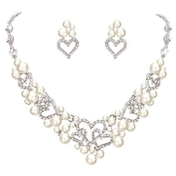 Fanze Wanita Austrian Crystal Krim Simulasi Mutiara Manis Cinta Mimpi Jantung Pernikahan Perhiasan Pengantin Set-Intl