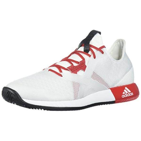 Almm Adidas Performa Wanita AdiZero Defiant Bounce W Sepatu Tenis, Putih/SCARLET/Inti Hitam, 10 M Kami-Internasional