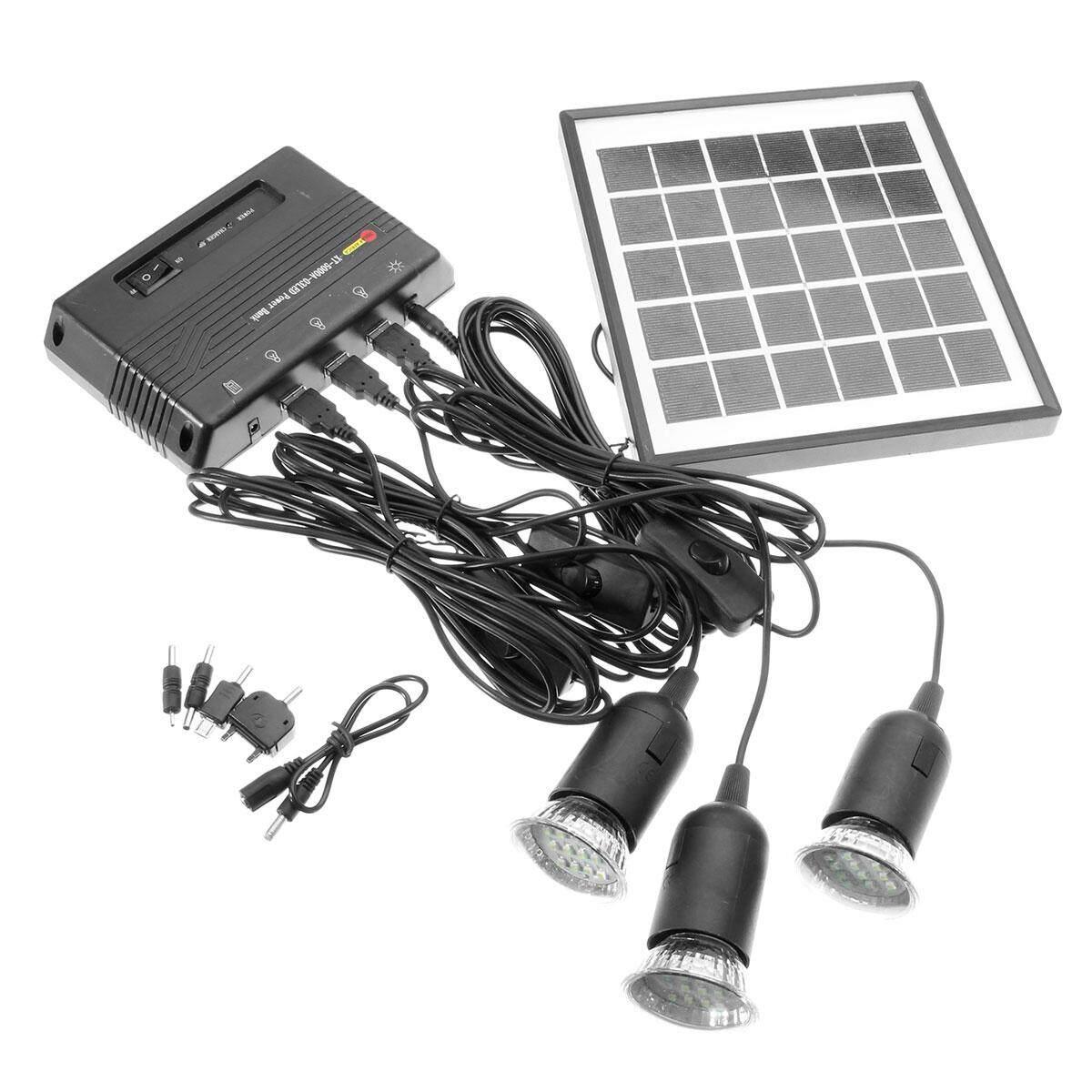 ... Luar Ruangan Tenaga Surya Daya Panel LED Lampu Lampu USB Pengisi Daya Rumah Sistem Perlengkapan Taman ...