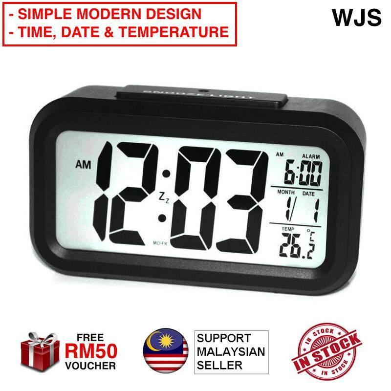 (SIMPLE MODERN DESIGN) WJS Large Bright LED Digital Alarm Smart Clock Touch Sensor Time Date Temperature Simple Clock Digital Clock Alarm Clock (FREE RM50 VOUCHER)