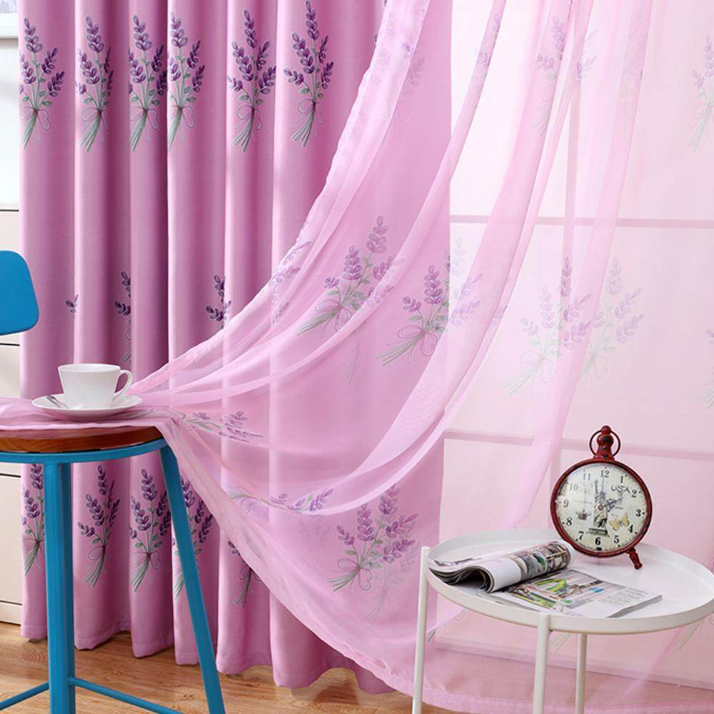 jiechuan New Arrival Lavender Printed Door Window Curtain Room Divider Sheer Panel Drapes Scarf Valances,100*250cm