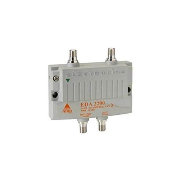 Electroline EDA-2200 2-Port Televisi Kabel HDTV Sinyal Booster/Amplifier (Paket Ritel dengan Garansi 5 Tahun ), incl. Terminator untuk Port Yang Tidak Terpakai-Internasional