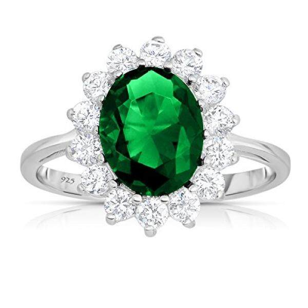 Sterling Silver Rich Green Emerald CZ with White CZ Helo Jacket Princess Diana Kate Middleton Engagement Ring (5) - intl