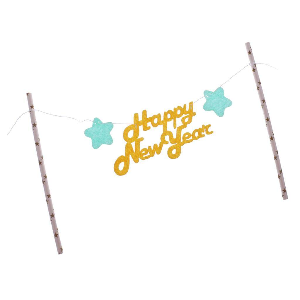 Bolehdeals Happy New Year Cake Topper Flag Banner Spring Festival Decoration Yellow - Intl By Bolehdeals.