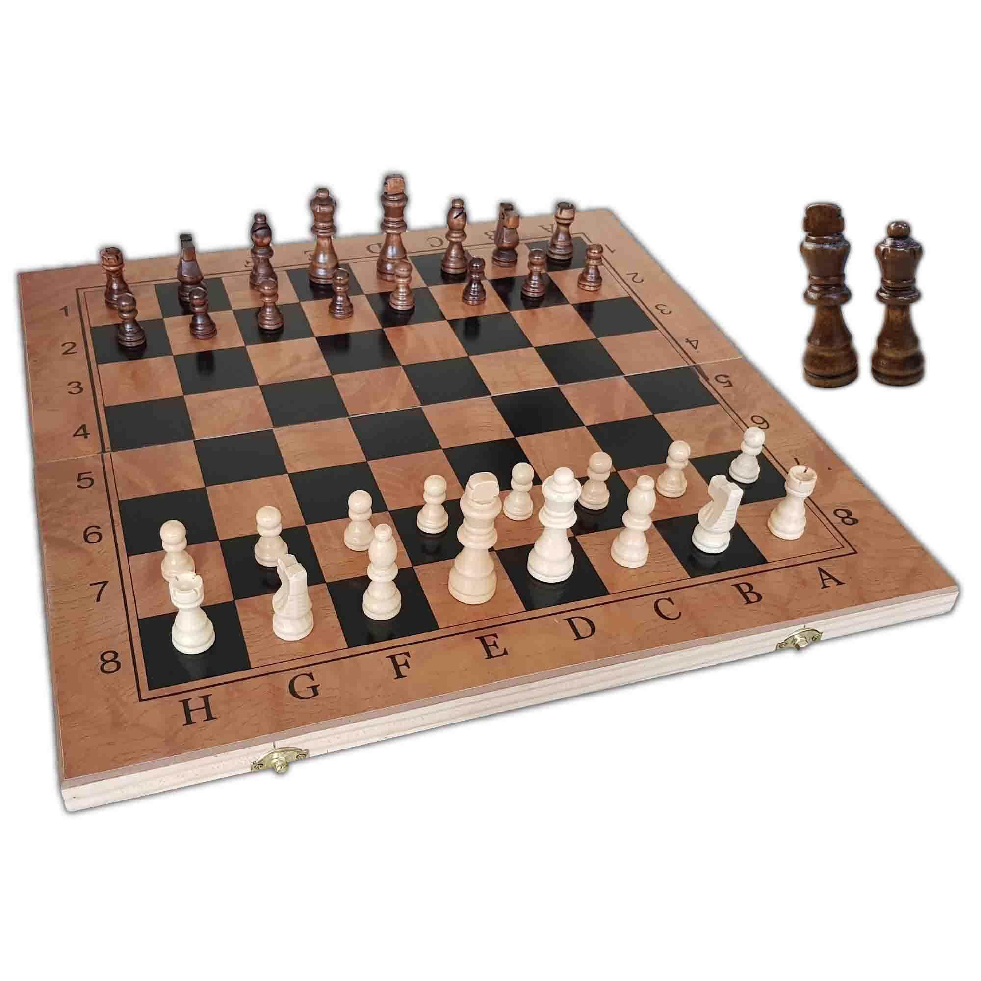 Portable Wooden Tournament Chess Set 3 in 1 (Chess & Checkers & Backgammon) 48 CM X 48 CM
