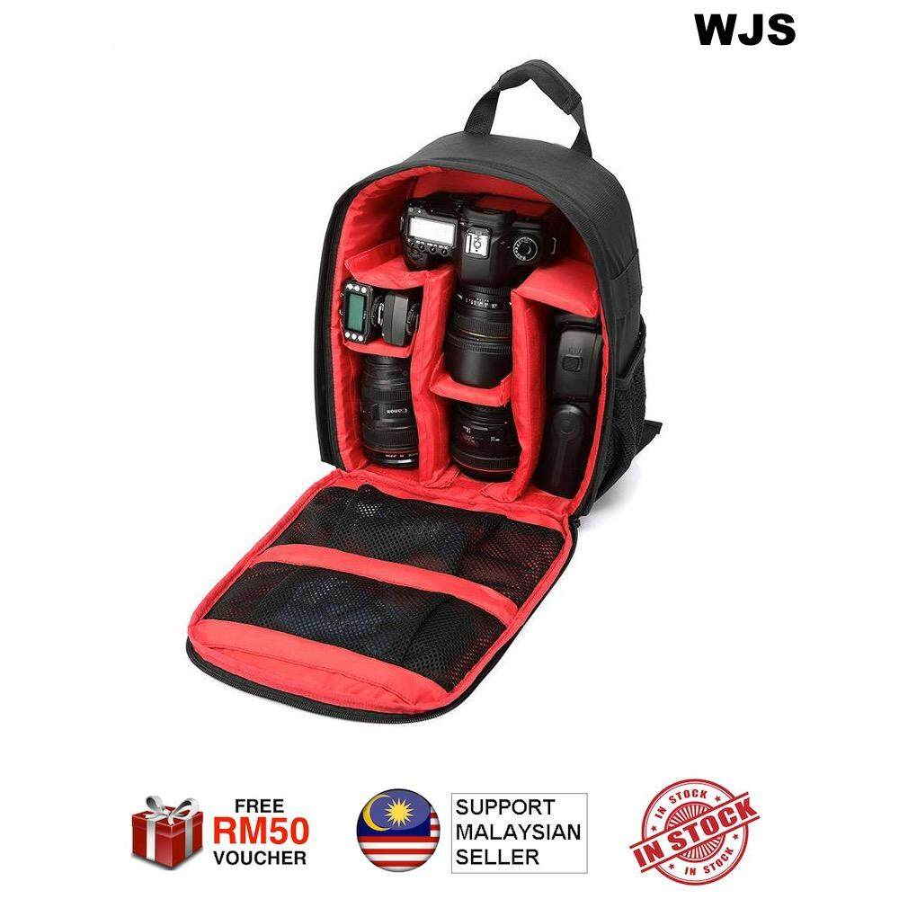 (FREE RM50 VOUCHER) WJS LARGE SIZE Multi-compartment Waterproof DSLR Camera Package Backpack Bag Case NEW EDITION Red