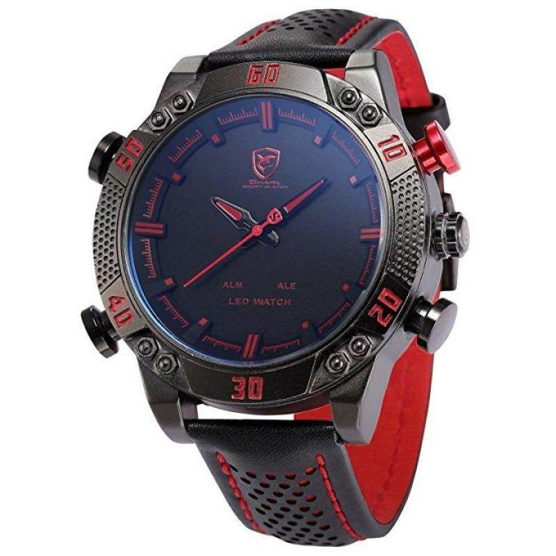 SHARK Mens LED Date Day Watch, SHARK SPORT WATCH - Alarm Digital Dual Display Analog Dial Quartz Black Leather Band Wrist Watch, Holiday Gift Malaysia
