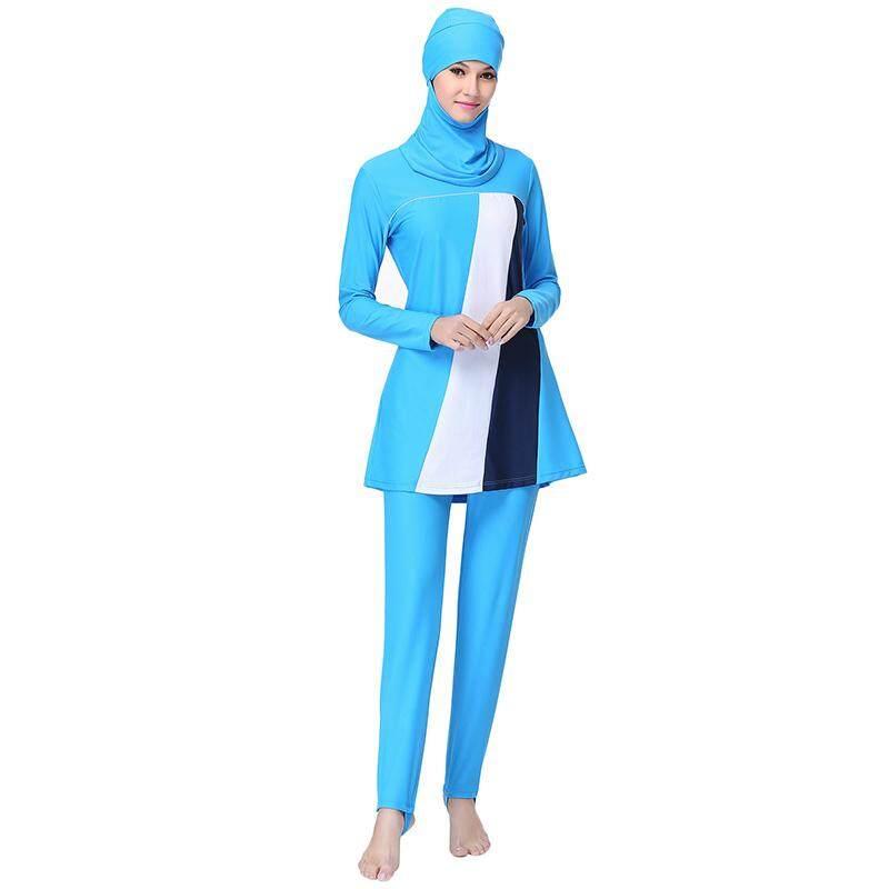 EGC Plus Ukuran Baju Renang Muslim Sederhana Arab Pakaian untuk Wanita Muslimah Penuh Sarung Baju Renang Islami (Langit Biru) -Internasional