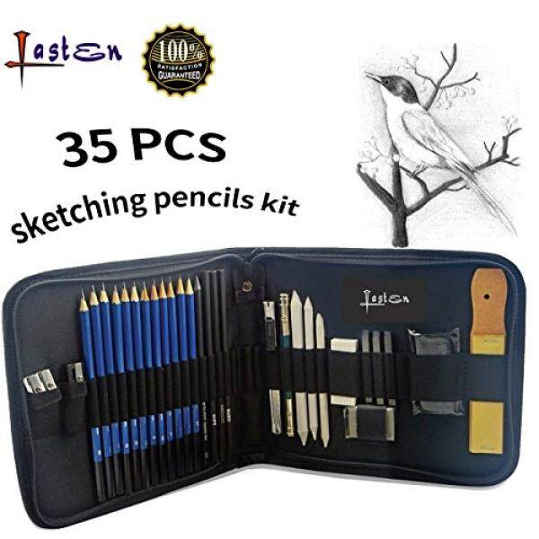 Lasten Pensil Gambar Artis Perlengkapan Seni Kit Seniman Pensil Gambar Set Pensil Grafit, 35 Pcs