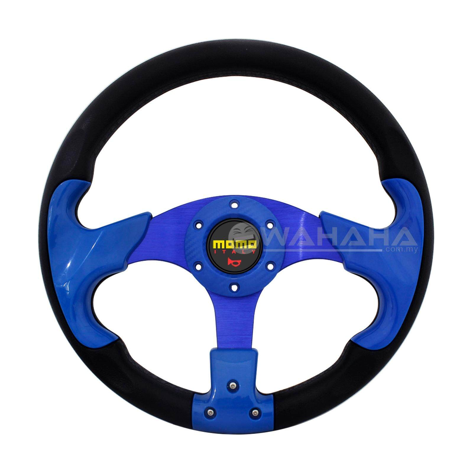 NEW BLUE SPORT 320MM PU STEERING WHEEL WITH HORN BUTTON (8904)