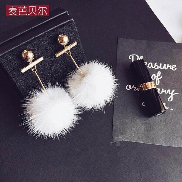 Macbeth temperament metal wind mink fur ball earrings female fashion wild temperament wild white plush ball earrings gift box white(white) - intl