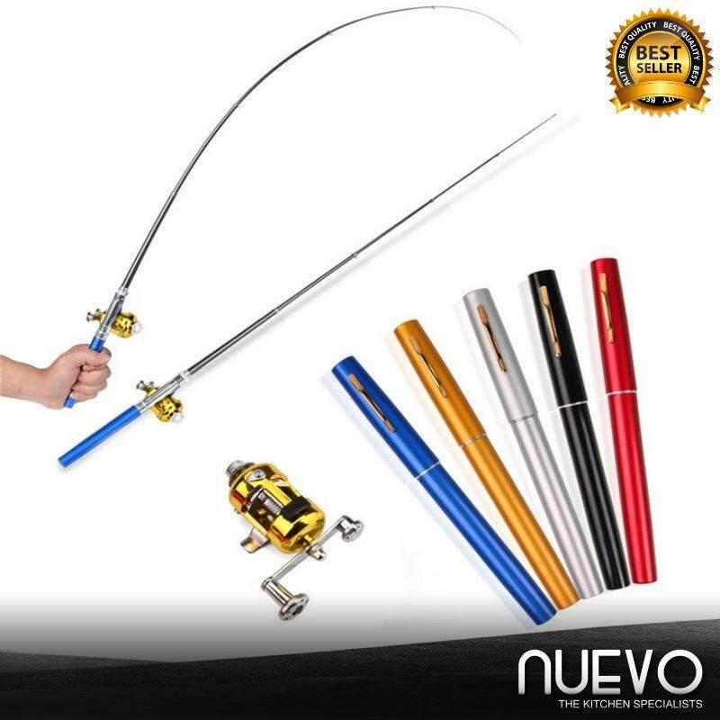 Nuevo Fishing Rod Reel Combo Kit Set Mini Telescopic Portable Pocket Pen Fishing Rod Pole Reel Aluminum Alloy Fishing Accessories