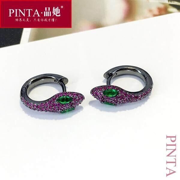 Ini Adalah Satu Jual Modis Sederhana Tide Anting-Anting Feminitas Serpentine Kepribadian Anting-Anting Aksesoris Perhiasan Emas Tunggal (Fuchsia Tunggal) -Internasional