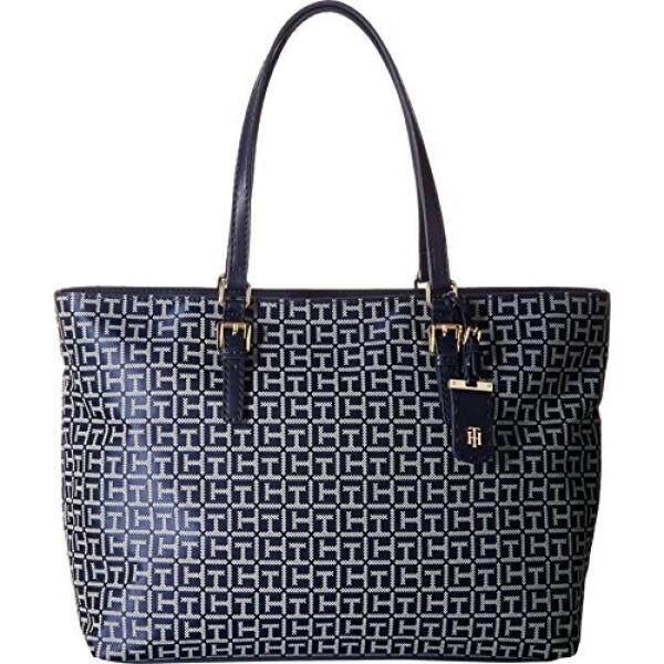 Tommy Hilfiger Womens Julia Signature Jacquard Tote Navy White Handbag Intl
