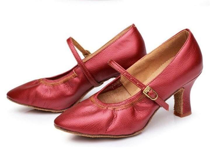 Jual Panas Wanita Tango Ballroom Latin Menari Sepatu Dansa Bertumit Salsa Profesional Tarian Sepatu untuk Wanita Wanita 7 Cm -Internasional