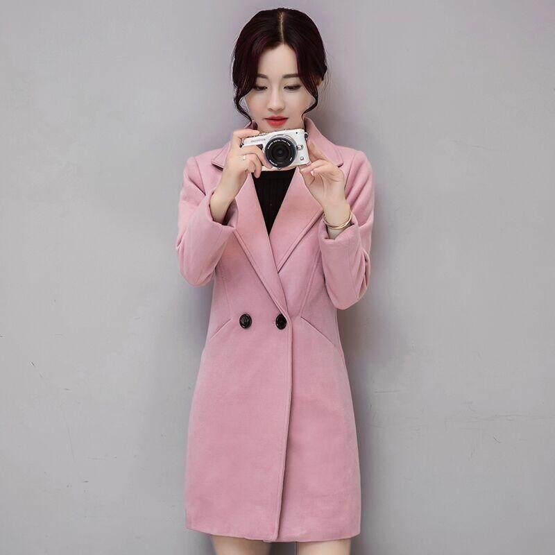 Musim Dingin Tebal Tetap Hangat Wol Panjang Mantel Wanita Belok-Down Warna Polos Kerah Woolen Mantel Wanita Ramping Wol Lembut -Internasional