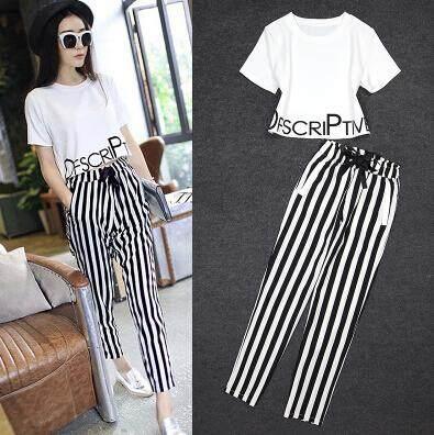(Pre Order 14 days) JYS Fashion Korean Style Women Sport Wear Set Collection 540 - 8599 white top line pant