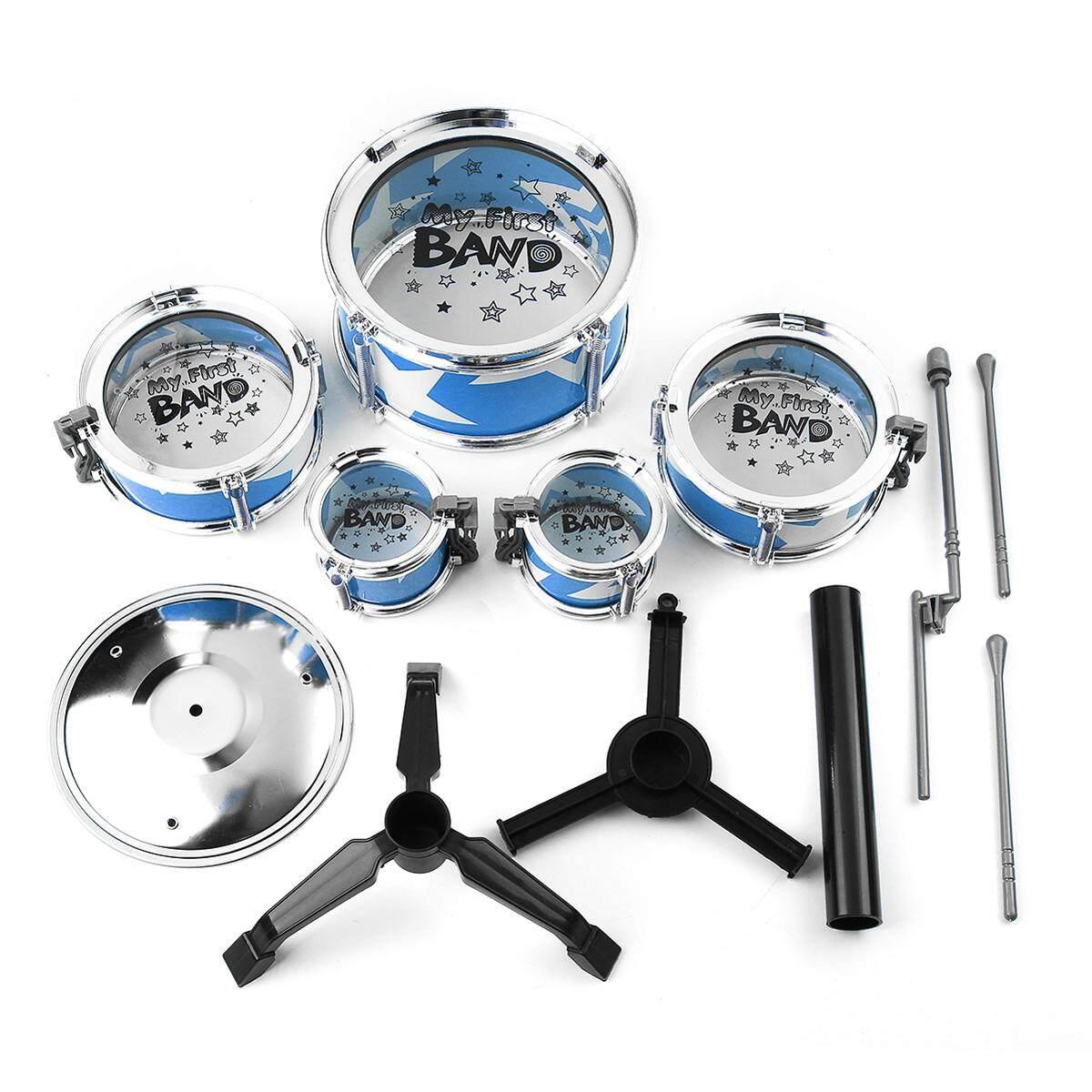 Mini Jazz Drum DIY Perkusi Alat Musik Anak-anak Fun Mainan Hadiah untuk Anak-anak Biru-Internasional