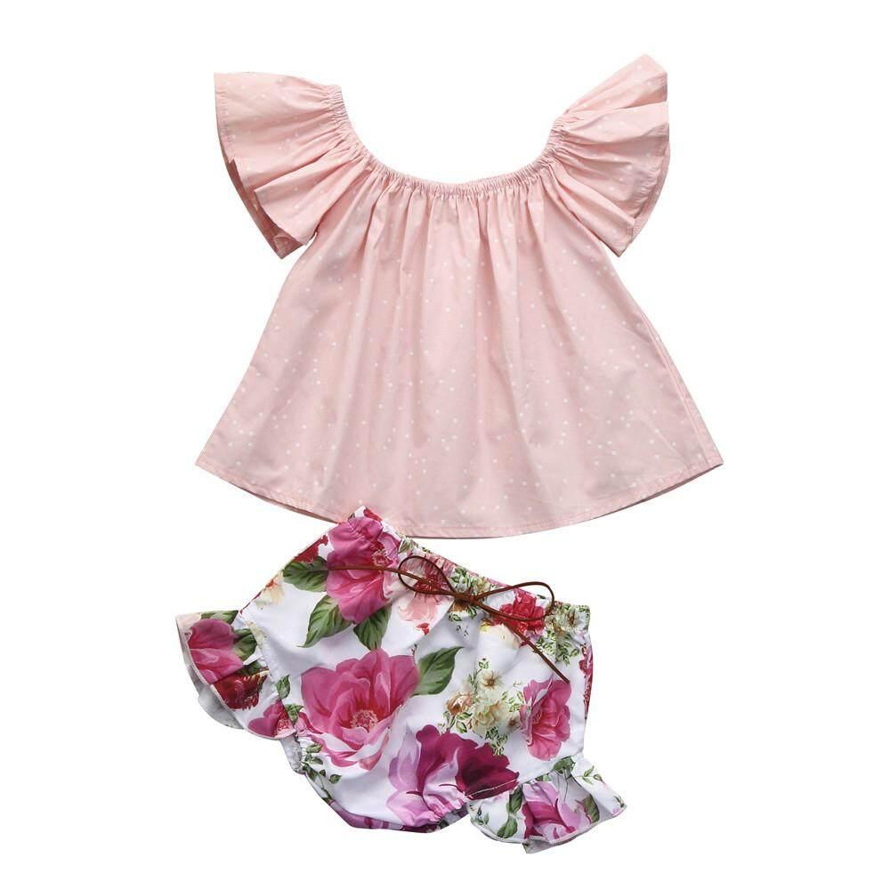 2 Pcs Bayi Balita Bayi Perempuan Refleksi Cahaya Bunga Pakaian Atasan + Celana Pendek Set Pakaian