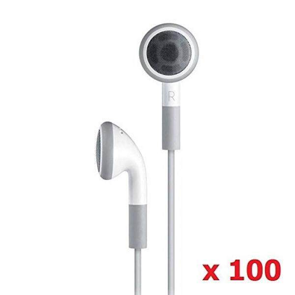 ALH Grosir Seattletech (100 Pack) earphone Putih Biasa Sekali Pakai Headphone Headset untuk iPhone 7 6 S 6 PLUS PLUS 5 S 4 S 3G 3Gs IPod MP3 MP4-Internasional