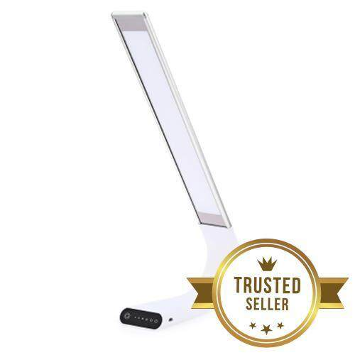15W LED EYE CARING PROTECTION DESK LAMP USB RECHARGEABLE TOUCH CONTROL 3 MODES 6 DIMMABLE LEVELS NIGHT LIGHT (SILVER)