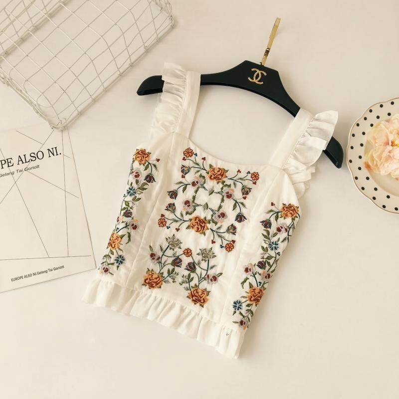 ?PRE-ORDER 21 DAYS?Bohemian national wind heavy embroidery flowers fungus V-neck camisole