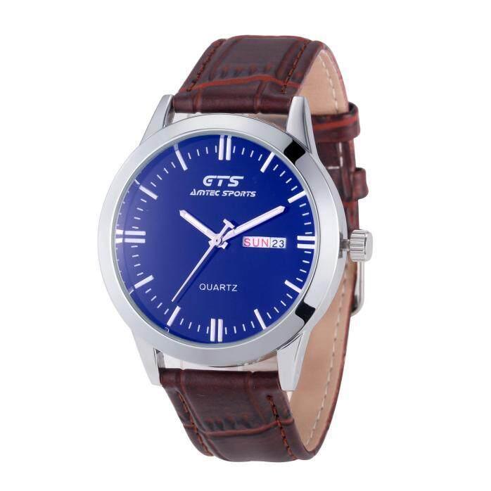Luxury Men's Date&Week Business Leather Stainless Steel Quartz Wrist Watch - intl