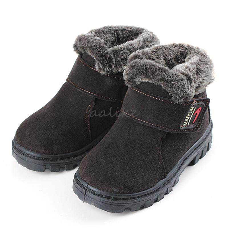 70b59d691fb51 New Girls Boys Winter Warm Boots Kids Children Cotton Leather Shoes Snow  Boots Coffee