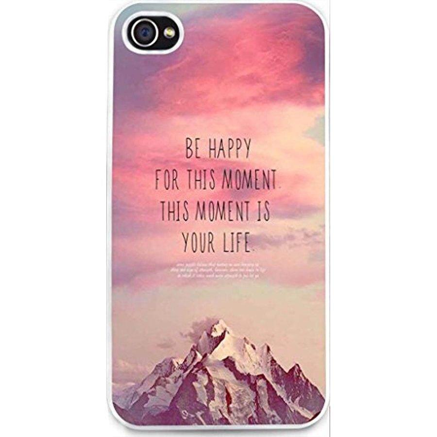 Case untuk iPhone, dseason iPhone 4 S Keras Case ** Baru ** Berkualitas Tinggi Desain Unik Christian Kutipan Bahagia untuk Saat Ini adalah Hidup Anda-Internasional