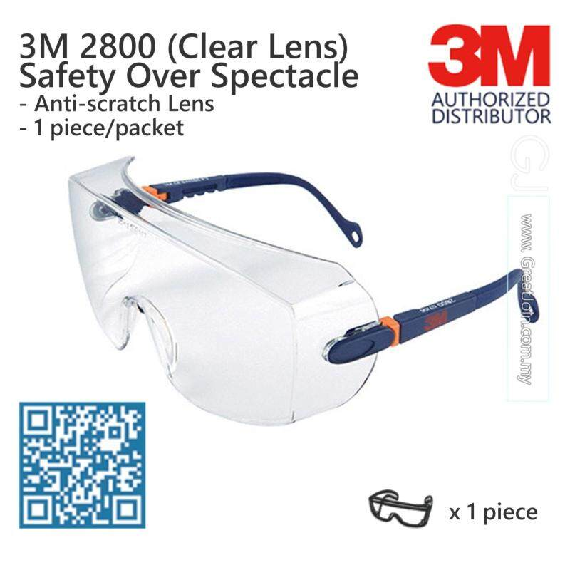 3M 2800 Safety Evewear/ Safety Glasses/ Over Spectacle/ Premium Visitor Specs Anti Scratch [Clear/ Transparent Lens]