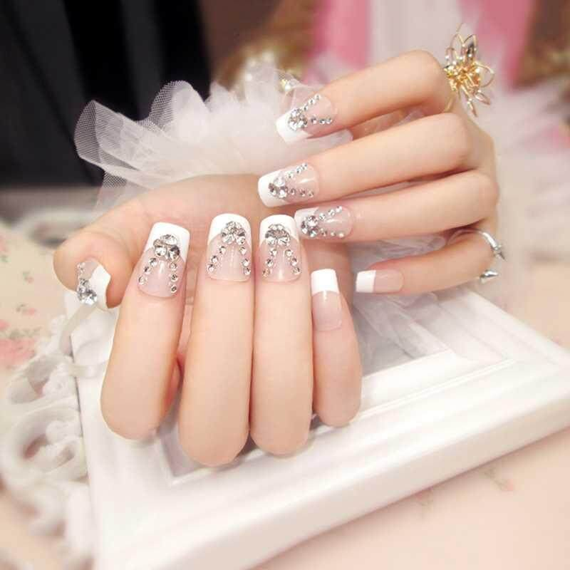 Vigo 24Pcs / set Long French Fake Nails With Glue Wedding Bride Party Fake Ladies Full Nail Tips Mixed Size - intl Philippines