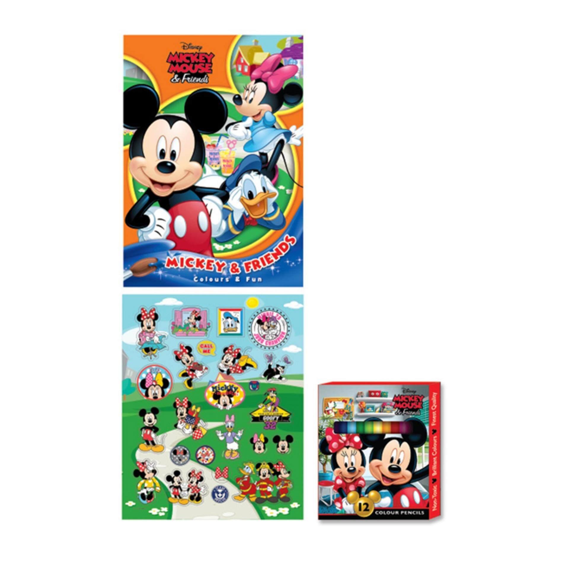 Disney Mickey Activity Book With Colour Pencil Set - Multicolour