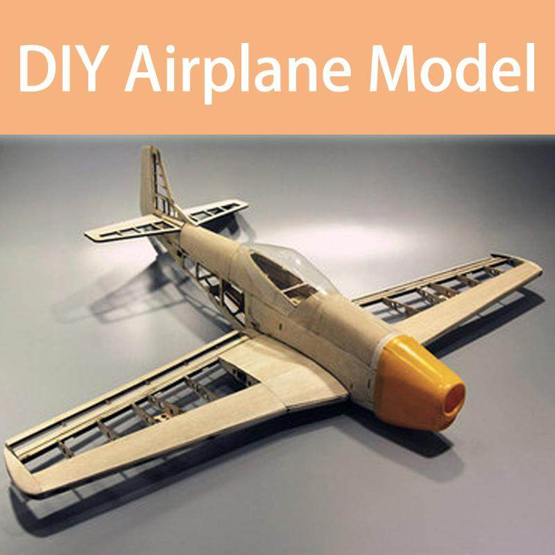 WWII Mustang USA P51 Model Airplane Light Wood DIY Assembly 3D Puzzle Kits - intl