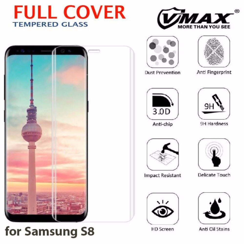 Samsung Galaxy S8 3D Full Cover Curved Tempered Glass Screen Protector [Transparent]
