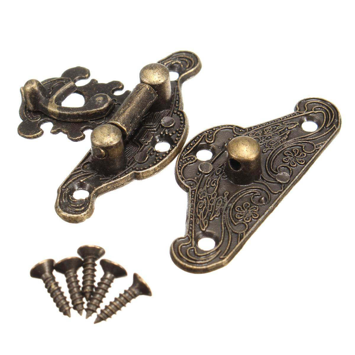 7pcs Antique Retro Vintage Decorative Latch Wooden Jewelry Box Hasp Pad Chest Lock Extra small - intl