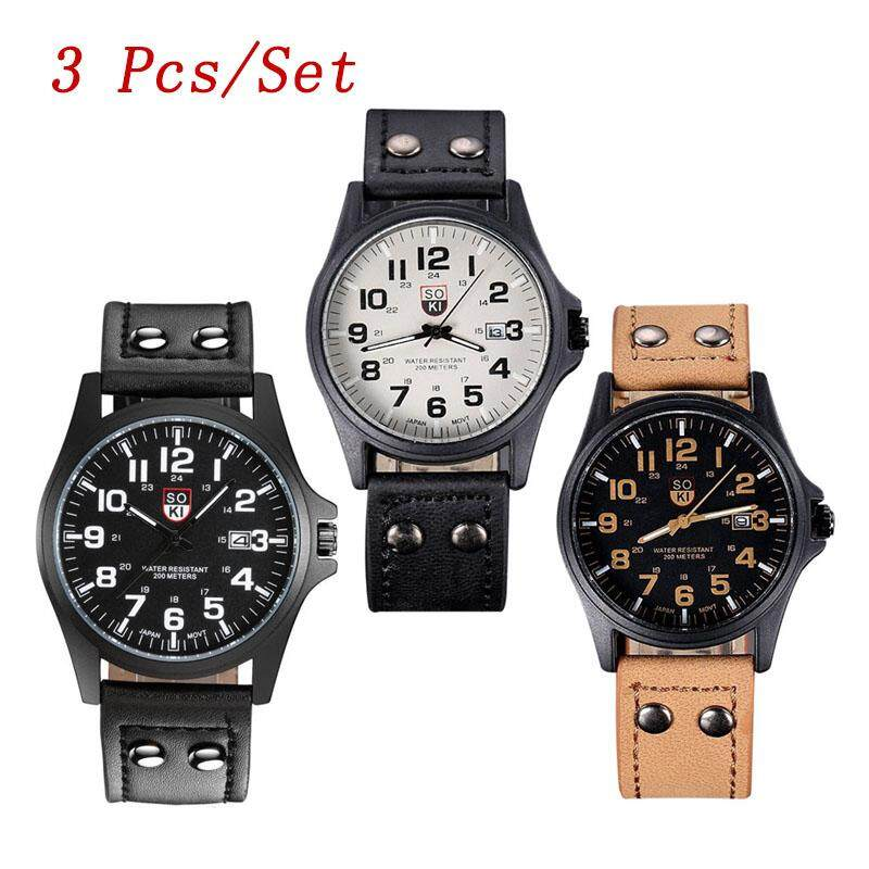 3 Pcs/Set SOKI Men's Casual Quartz Calendar Watch Leather Strap Wristwatches